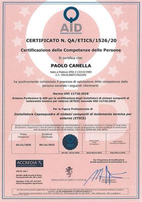 Certificazione professionale degli installatori ETICS